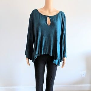 Lucky Brand teal blue keyhole neck swing top